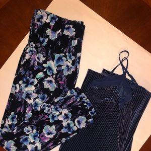 Ann Taylor Blue Floral Pant + Velvet Slip Dress